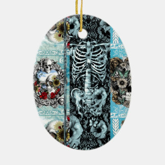Ornate skull collage Double-Sided oval ceramic christmas ornament