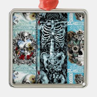 Ornate skull collage square metal christmas ornament