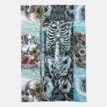 Ornate skull collage towel
