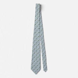Ornate Sloth Print Tie - Blue