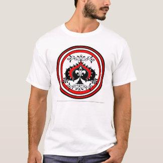 Ornate Spade Design White/Red/Black T-Shirt