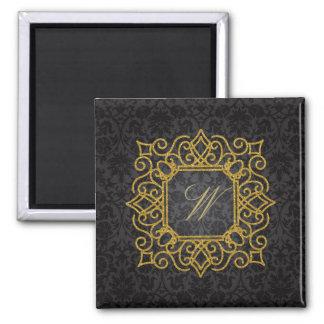 Ornate Square Monogram on Black Damask Magnet