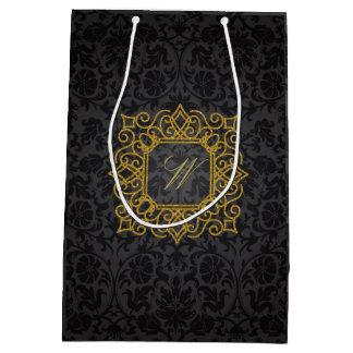 Ornate Square Monogram on Black Damask Medium Gift Bag
