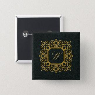 Ornate Square Monogram on Dark Leather Button