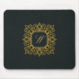 Ornate Square Monogram on Dark Leather Mouse Pad