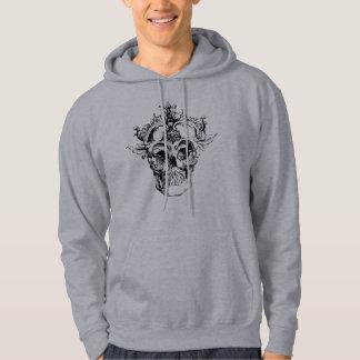 Ornate style graphic design skull men's hoodie