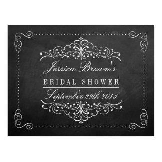 Ornate Swirl Chalkboard Bridal Shower Recipe Cards