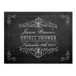 Ornate Swirl Chalkboard Bridal Shower Recipe Cards Postcard