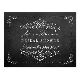 Ornate Swirl Chalkboard Bridal Shower Recipe Cards Postcard