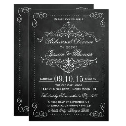 Ornate Swirl Chalkboard Wedding Rehearsal Dinner Card