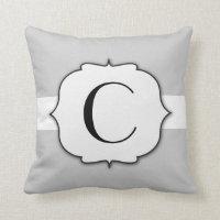 Ornate Swirl Frame Grey Monogram Throw Pillow