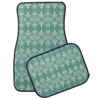 Ornate swirl ricocco parisienne green floor mat