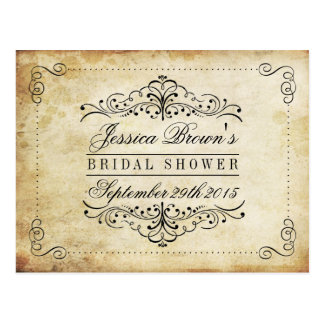Ornate Swirl Vintage Bridal Shower Recipe Cards Postcard