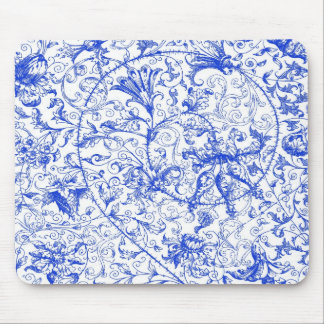 Ornate Swirls in Blue Mousepad