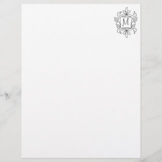 Ornate swirly monogram letterhead writing paper