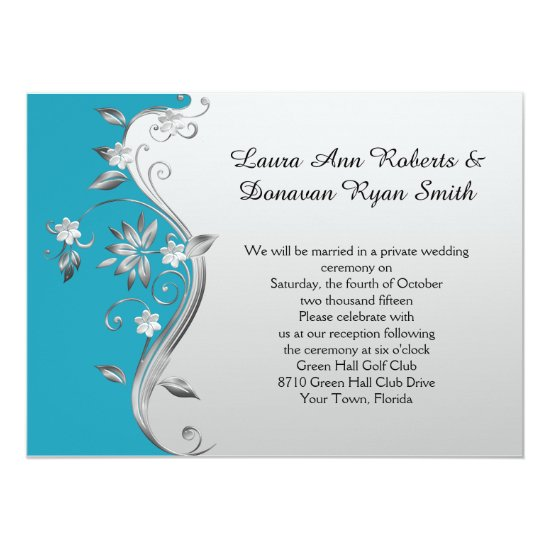 Ornate Teal Blue and Silver Floral Reception Only Invitation