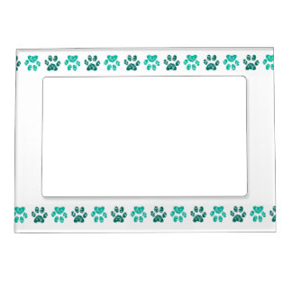 Ornate Teal Paw Print Pattern in Teal Magnetic Picture Frames