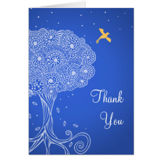 Ornate Tree of Life Blue Bat Mitzvah Thank You Greeting Cards
