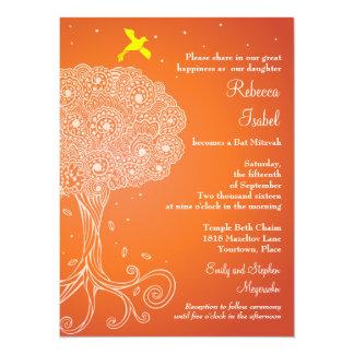 Ornate Tree of Life Orange Bat Mitzvah 5.5x7.5 Paper Invitation Card