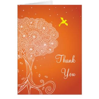 Ornate Tree of Life Orange Bat Mitzvah Thank You Card