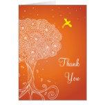 Ornate Tree of Life Orange Bat Mitzvah Thank You Stationery Note Card