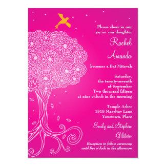 "Ornate Tree of Life Pink Bat Mitzvah 5.5"" X 7.5"" Invitation Card"