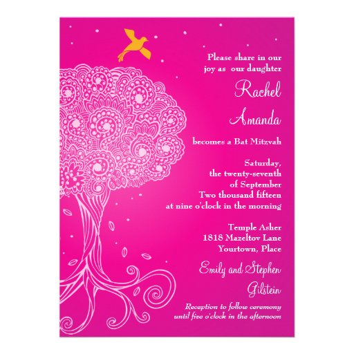 Ornate Tree of Life Pink Bat Mitzvah Invite