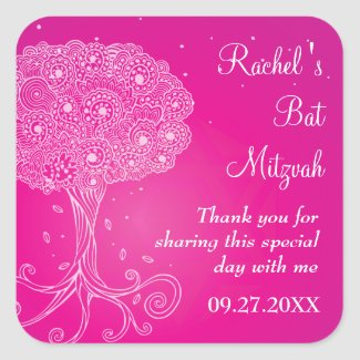 Ornate Tree of Life Pink Bat Mitzvah Stickers