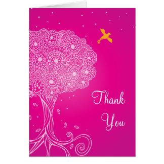 Ornate Tree of Life Pink Bat Mitzvah Thank You Greeting Card