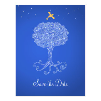 Ornate Tree of Life Princess Blue Save the Date Post Card