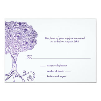 Ornate Tree of Life Purple Bat Mitzvah RSVP Card