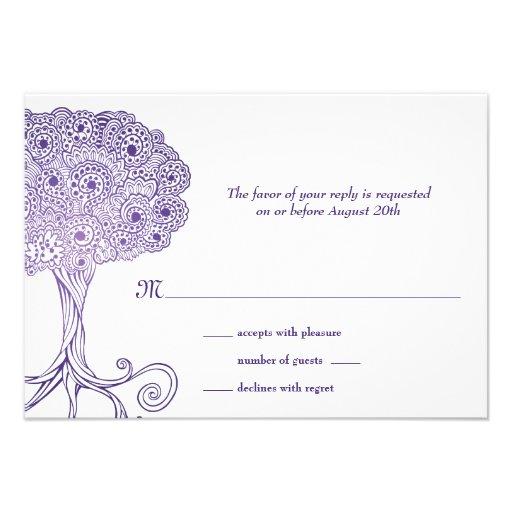 Ornate Tree of Life Purple Bat Mitzvah RSVP Personalized Invitation