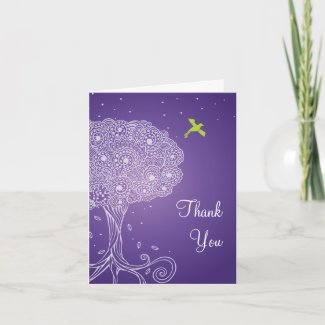 Ornate Tree of Life Purple Bat Mitzvah Thank You Cards