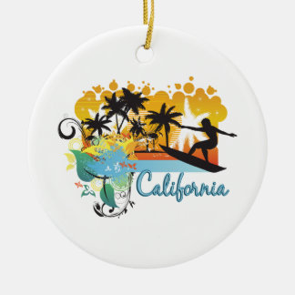 Ornate Tropical Paradise with Surfer CALIFORNIA Christmas Tree Ornaments