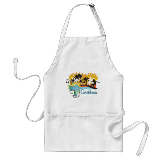 Ornate Tropical Paradise with Surfer CARIBBEAN Adult Apron