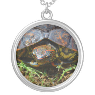 Ornate Turtle top view saturated.jpg Round Pendant Necklace
