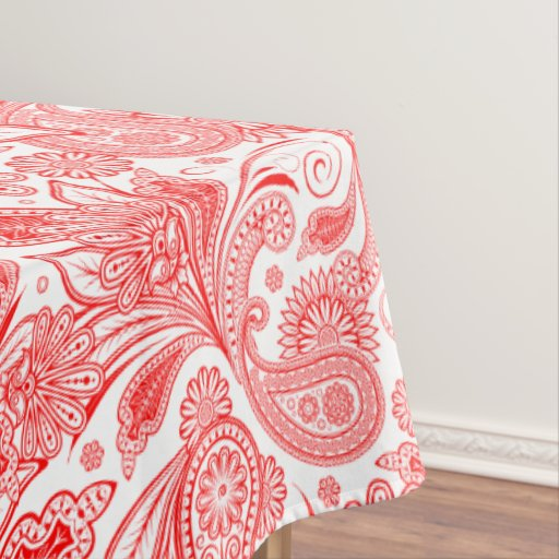 Ornate Valentines Red On White Ornate Paisley Tablecloth
