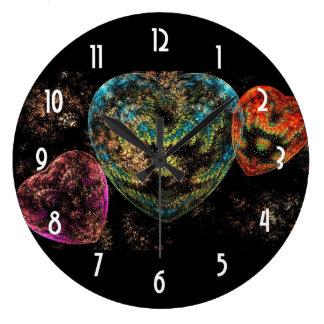 Ornate Velvet Textured Hearts Large Clock