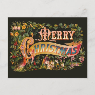 Ornate Vintage Christmas Greeting Postcard