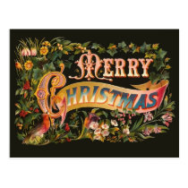 Ornate Vintage Christmas Greeting Postcard