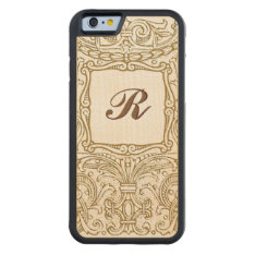 Ornate Vintage Decoration with Monogram Carved® Maple iPhone 6 Bumper at Zazzle