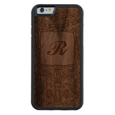 Ornate Vintage Decoration with Monogram Walnut Carved® Walnut iPhone 6 Bumper at Zazzle