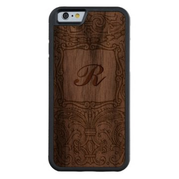 Ornate Vintage Decoration with Monogram Walnut Carved® Walnut iPhone 6 Bumper Case at Zazzle