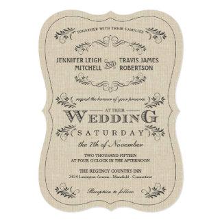 Ornate Vintage Flourish Burlap Wedding Invitations