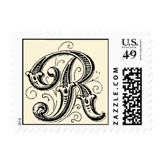 Ornate Vintage Monogram 'R' Postage Stamps