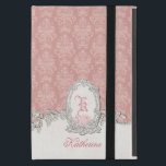 """Ornate Vintage Pink Damask Floral Monogram iPad Mini Cover<br><div class=""""desc"""">Inspired by Victorian embroidery, this richly layered romantic design features an ornate oval linen label with sculpted floral edge as well as matching ornate band with room for name and monogram on a softly distressed pastel blush pink damask background. Each element can be customized by resizing, repositioning or removing using...</div>"""