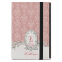 Ornate Vintage Pink Damask Floral Monogram iPad Mini Cover