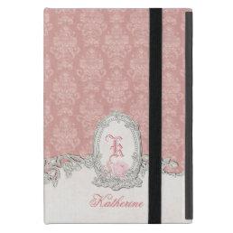 Ornate Vintage Pink Damask Floral Monogram iPad Mini Cover