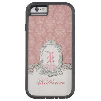 Ornate Vintage Pink Damask Floral Monogram Tough Xtreme iPhone 6 Case