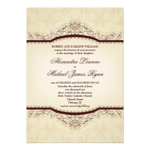 Ornate Vintage Wedding Invitations 5 X 7 Invitation Card